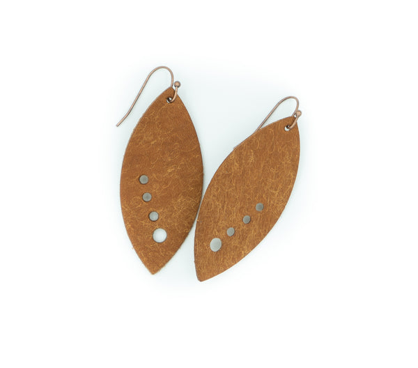 Cognac - Leather V3 Earrings