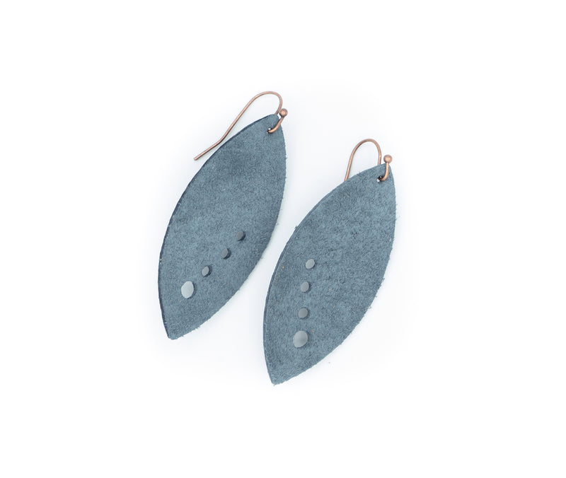 Dusty Blue - Leather V3 Earrings