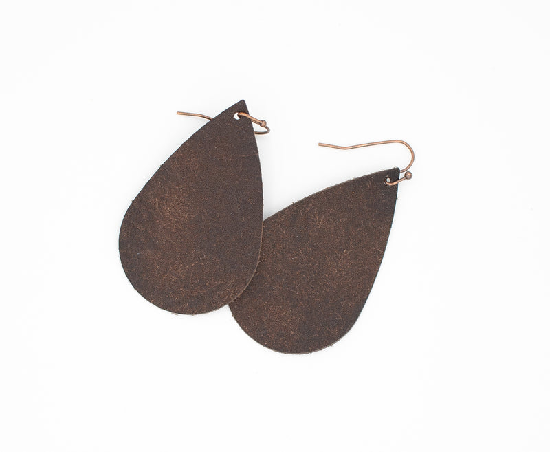 Tobacco - Leather Drop Earrings
