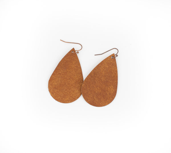Cognac - Leather Drop Earrings