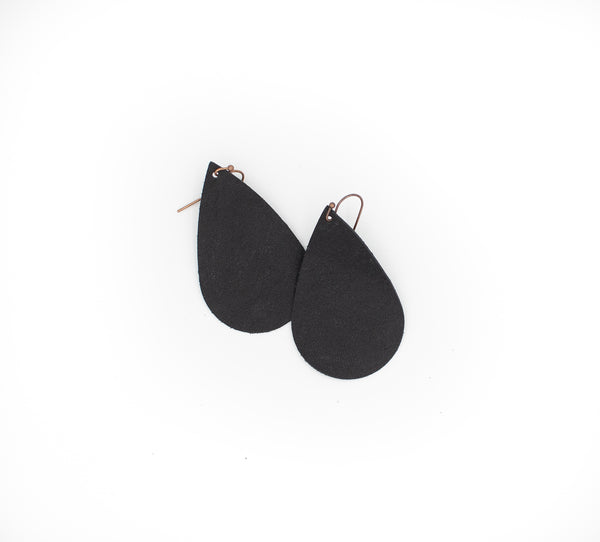 Black - Leather Drop Earrings