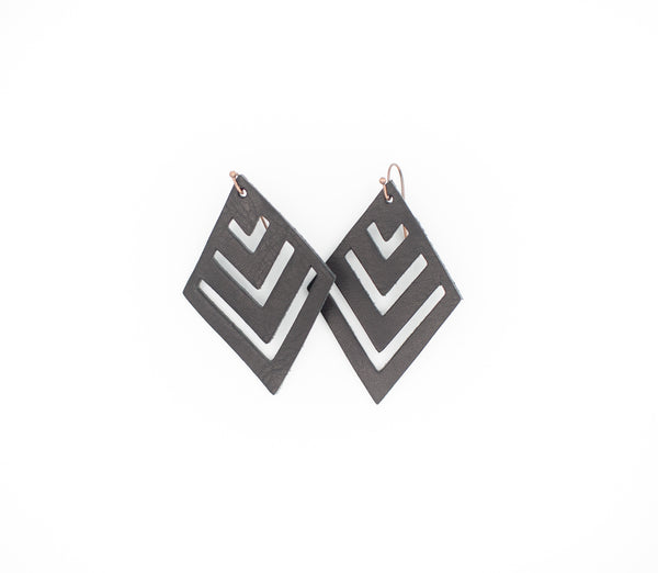 Black - Leather Diamond Earrings
