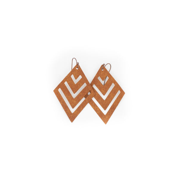 Cognac - Leather Diamond Earrings