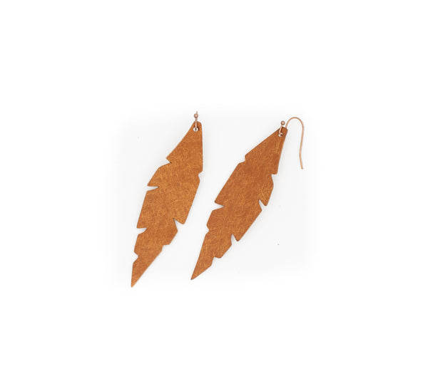 Cognac - Leather Feather Earrings