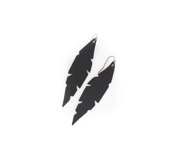 Black - Leather Feather Earrings