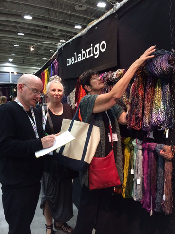 Crazy for Ewe choosing Malabrigo Caracol at TNNA 2016