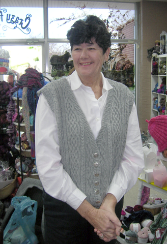 Ginni Stein in cabled vest