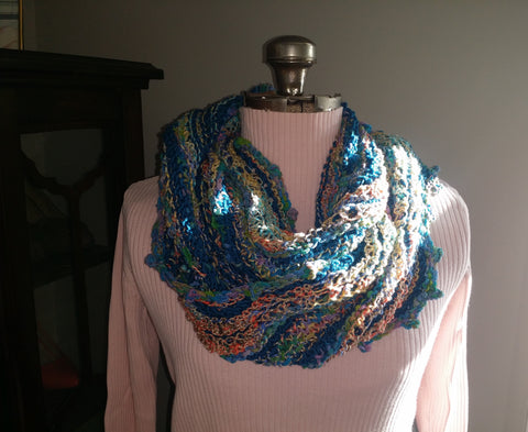 Louisa Harding Hollyhock Cowl worn doubled