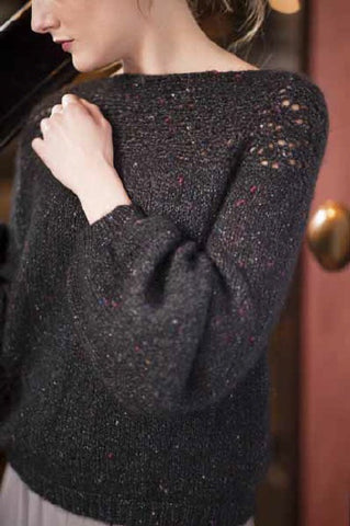 Lace trimmed sweater in Metal Tweed