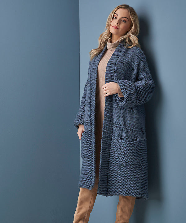 Blue Big Wool Cabled Coat