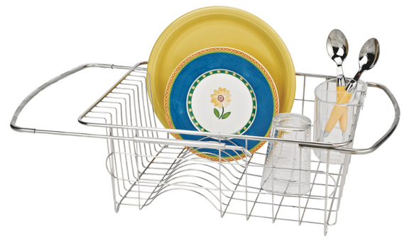 Adjustable Over-The-Sink Dish Drainer (with Cutlery Holder)