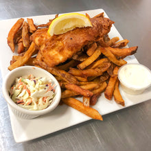 Load image into Gallery viewer, Beer Battered Halibut and chips