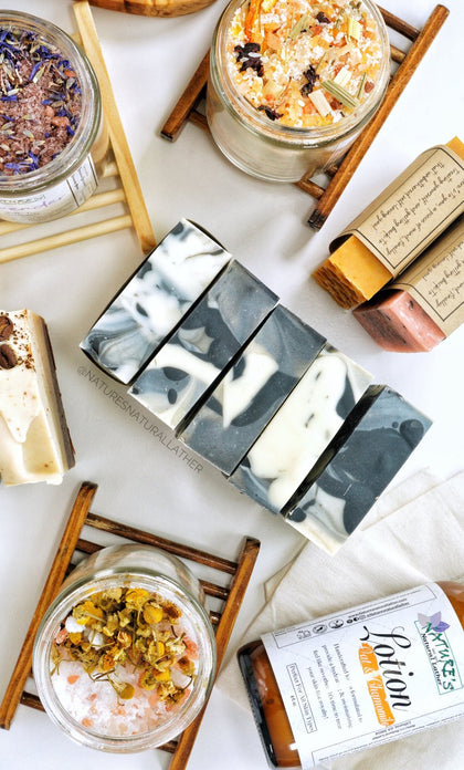 Nature's Natural Lather all natural vegan skincare. We handcraft vegan soap bars, body butters, bath bombs, facial masks, facial moisturizers, soothing essential oil bath salts, and more!