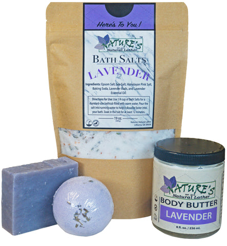 Nature's Natural Lather Lavender Bath Bundle provides a soothing floral aromatherapy experience with lavender essential oil that you can indulge in both in and out of the shower.