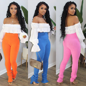 Sexy Women Two Piece Set /Stretch Knitted Trousers Jogger Autumn Suit