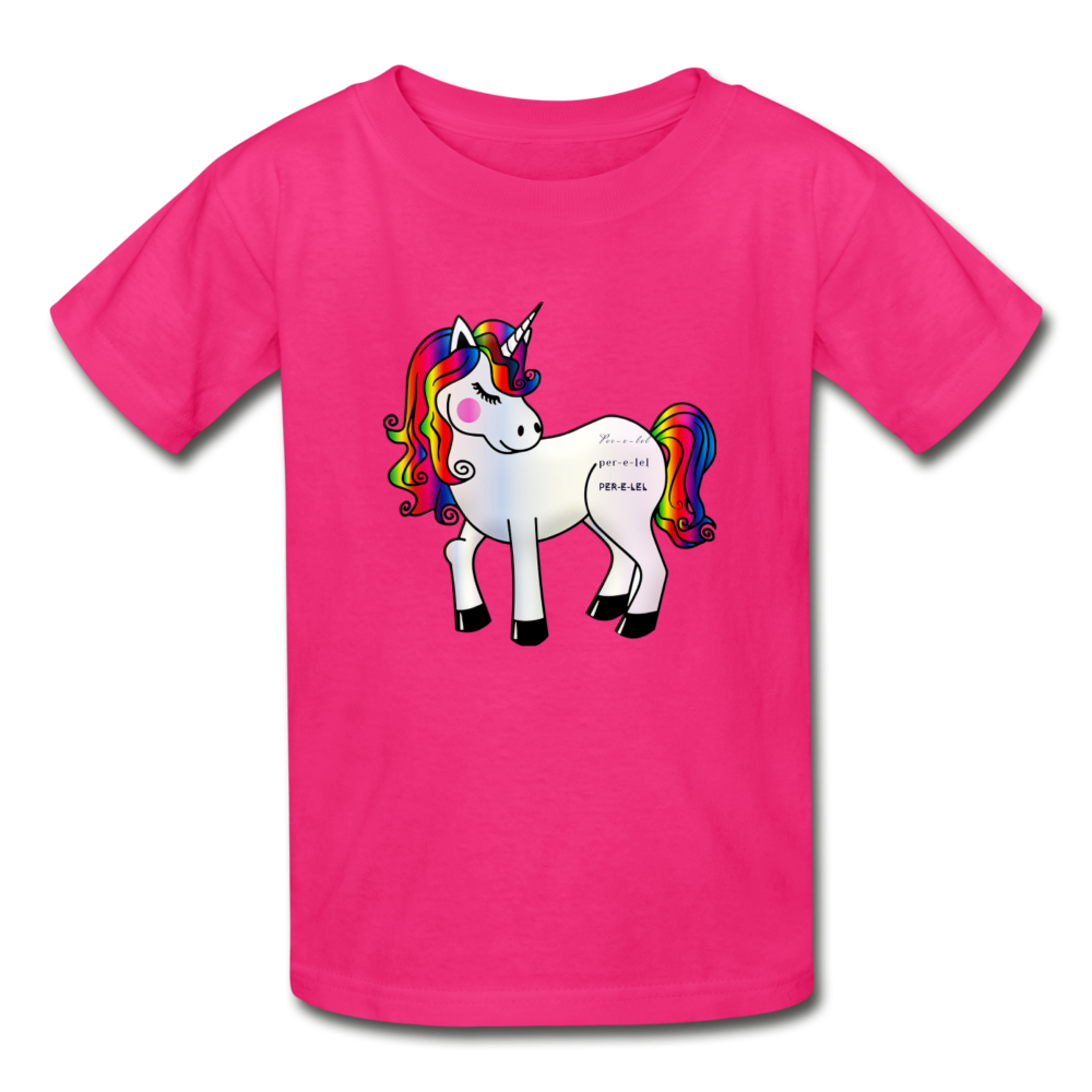 Girl's Cotton Unicorn Youth T-Shirt - fuchsia