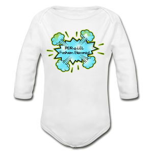 P.F.E Organic Long Sleeve Baby Bodysuit - white