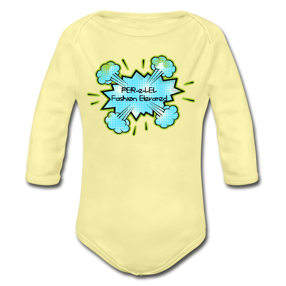 P.F.E Organic Long Sleeve Baby Bodysuit - washed yellow