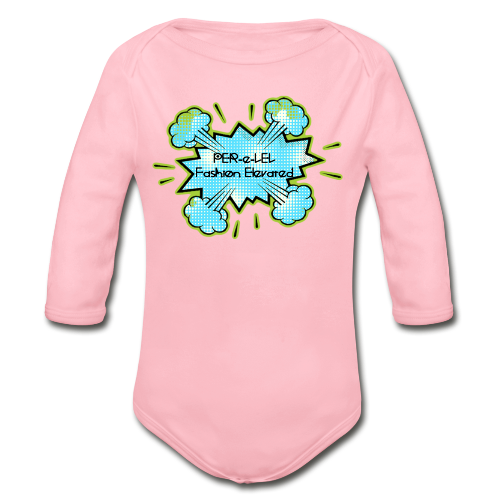 P.F.E Organic Long Sleeve Baby Bodysuit - light pink