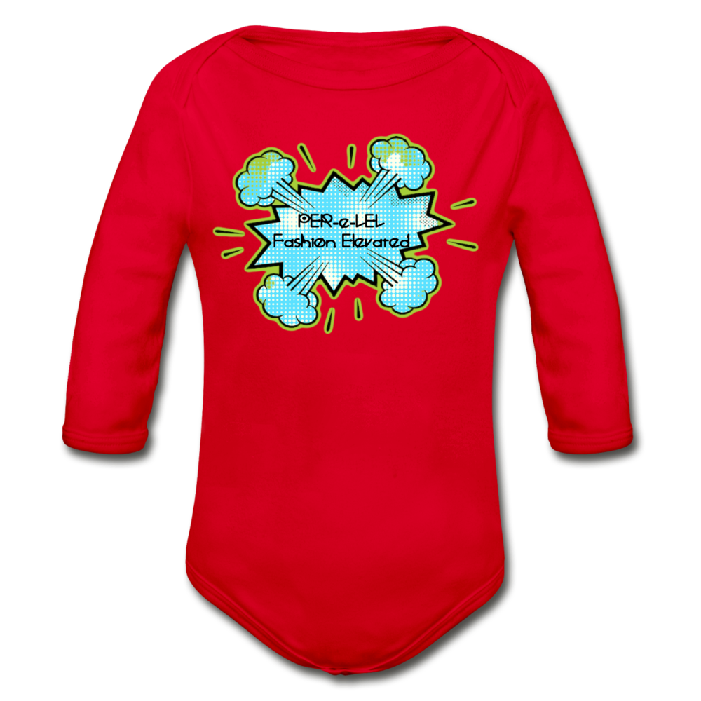 P.F.E Organic Long Sleeve Baby Bodysuit - red