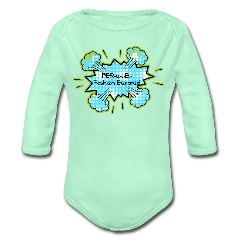 P.F.E Organic Long Sleeve Baby Bodysuit - light mint