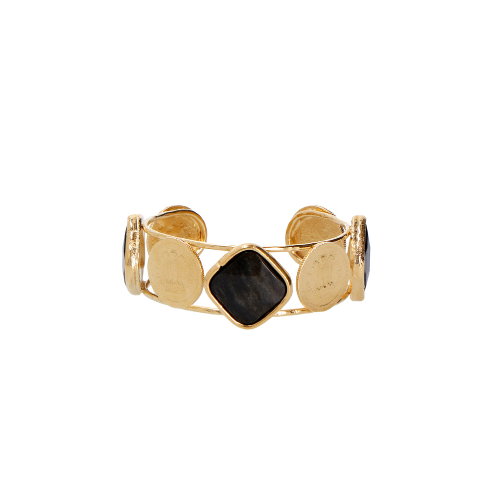 Cuff Bangalore Obsidiana Golden