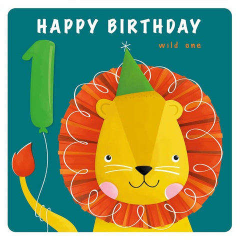 1st Birthday Lion Card