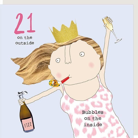 Girl 21 Bubbles Card by Rosie