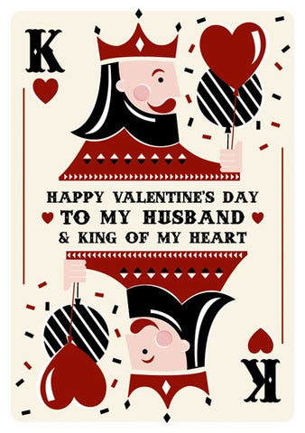Happy Valentine's Day To My Husband & King Of My Heart Card