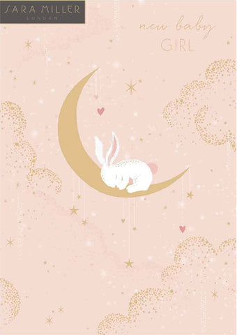 Bunny In The Moon New Baby Girl Card