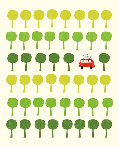 Camper And Trees Card
