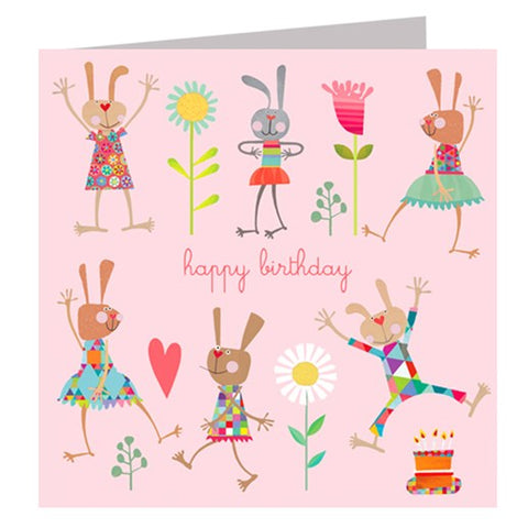 Dancing Rabbits Birthday Card