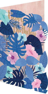 Lasercut Birthday Blue Flowers Card