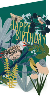 Lasercut Birds Happy Birthday Card
