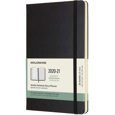 Moleskine 2021 18-Month Weekly Large Hardcover Diary : Black