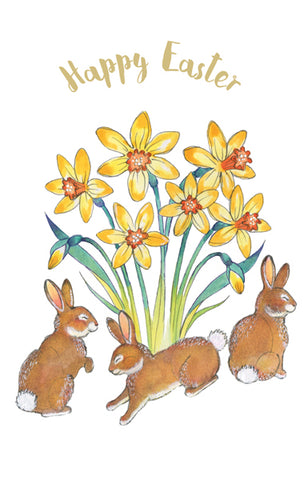 Happy Easter Cards, Pack of 6, Daffodils & Bunnies