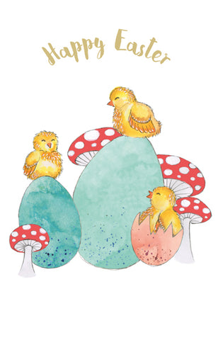 Happy Easter Cards, Pack of 6, Chicks and Toadstools