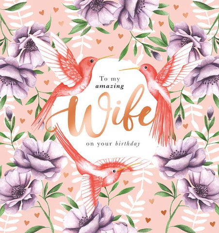 Birds And Flowers Wife Birthday Card