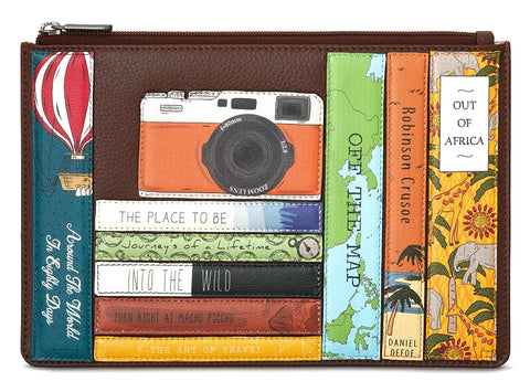 Brown Travel Bookworm Zip Top Pouch