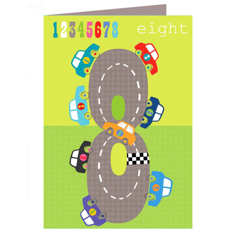 Cars 8th Birthday Card