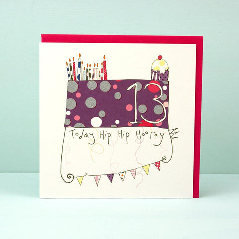 Hip Hip Hooray Purple 13 Card