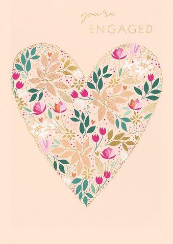 Engaged Floral Heart Card