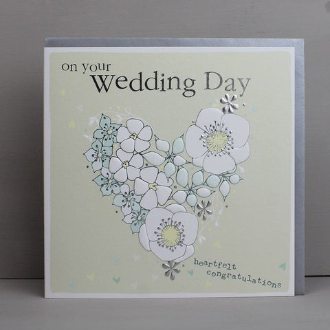 Floral Heart Wedding Day Card