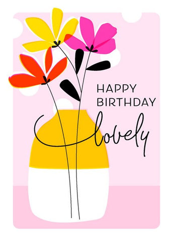 Flowers and Vase Birthday Card