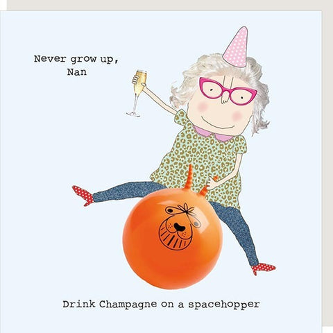 Champagne & Spacehopper Nan Card