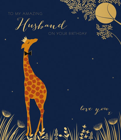 Amazing Husband Giraffe Birthday Card by Sara Miller