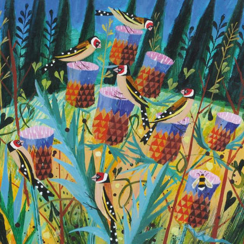 Goldfinches and Thistles card