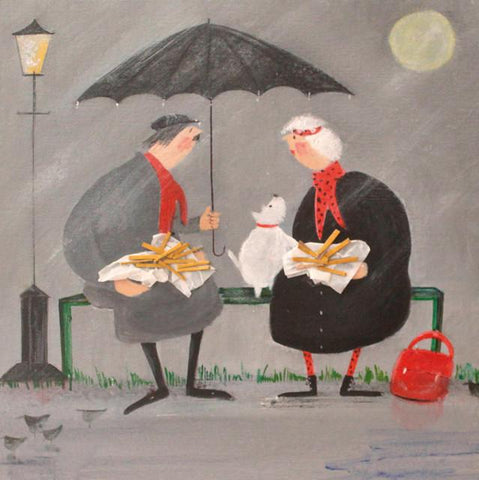 Chat and Chips in the Rain Card