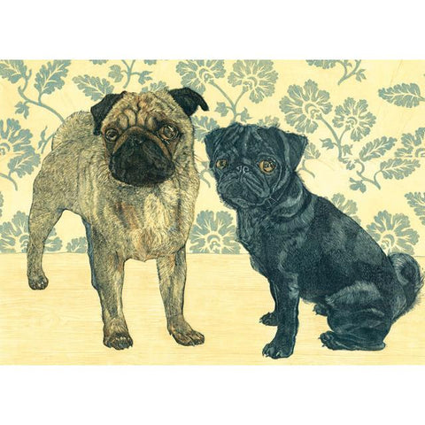 Two Pugs Dog Card