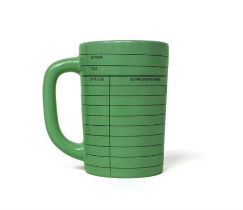 Green Library Card Mug